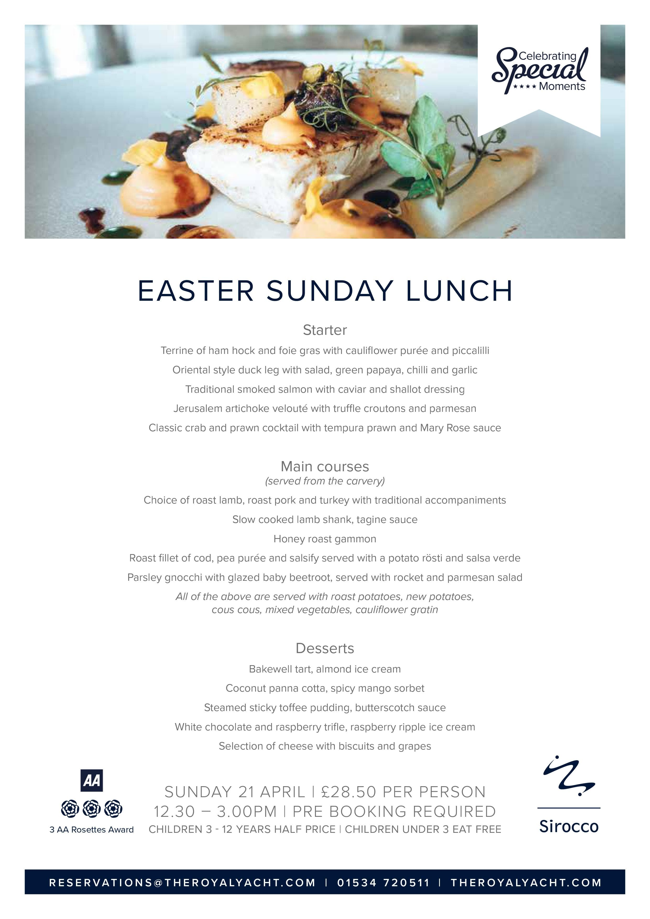 Sirocco Easter Sunday Lunch Menu